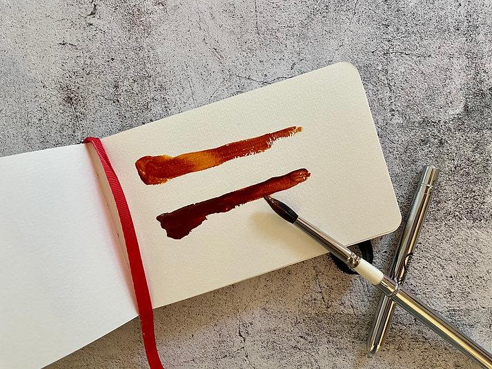 Daniel smith quinacridone deep gold watercolor gouache rosemary travel brush.jpg