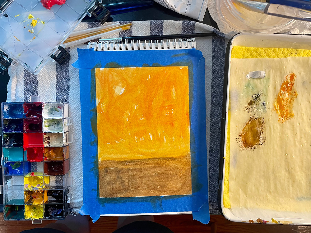 Gouahe painting studio set up with a wet palette, sealed palette. Sunset painting underpainting.