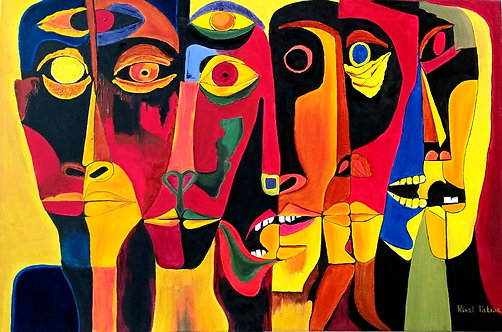 """Tribal faces - 24""""x36"""""""