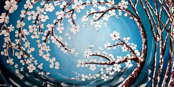 """Aqua Cherry Blossom- 48"""" x 24"""""""