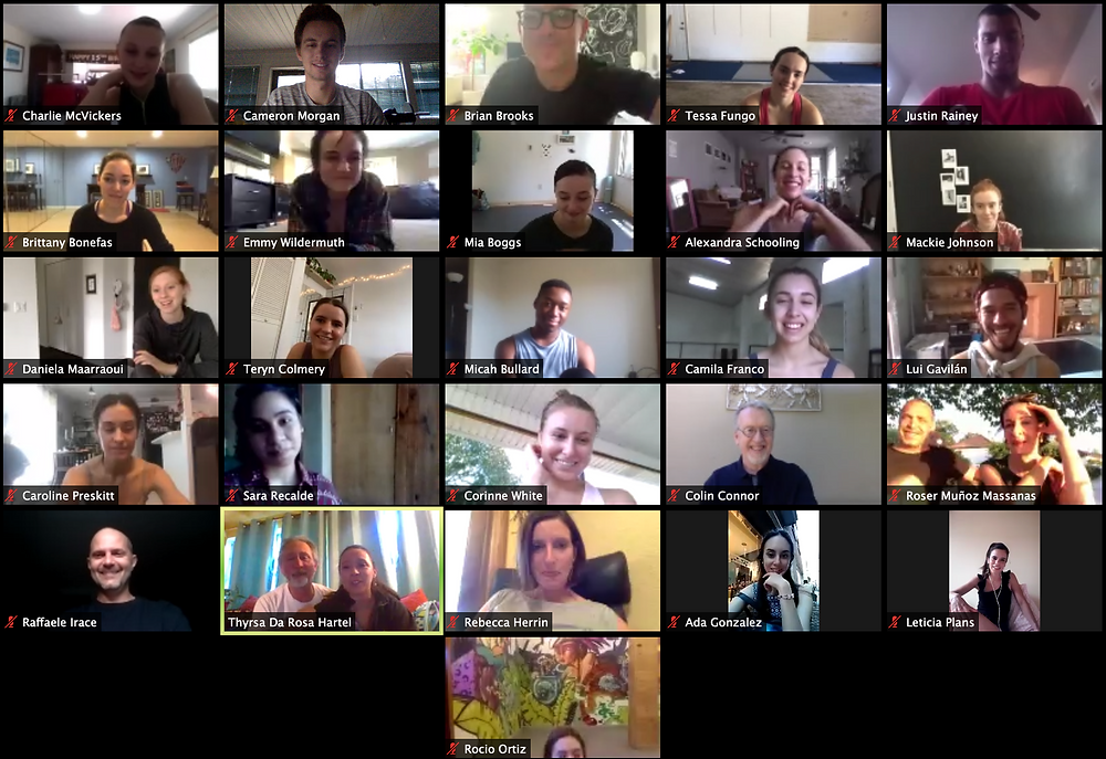A screenshot from OIDF's 2020 Online Intensive, with each individual contained in their own ZOOM screen.