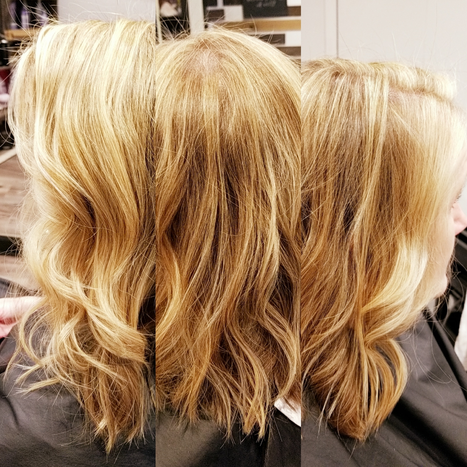 Blonde highlights, styled with waves