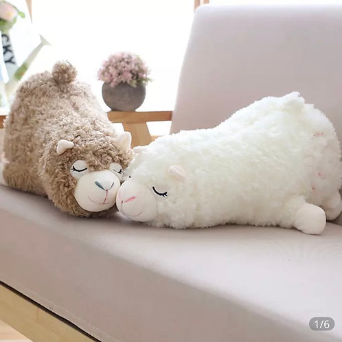 "Alpaca ""power nap"" plush 30cm long (Brown, white)"