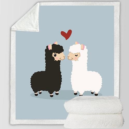 Large Alpaca LOVE super soft blanket 150x200cm