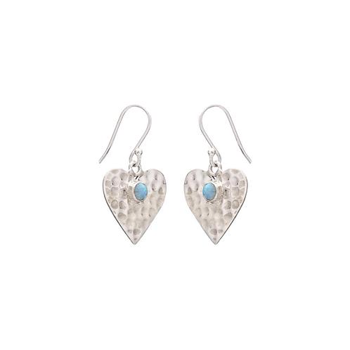 Heart With Opal Earrings