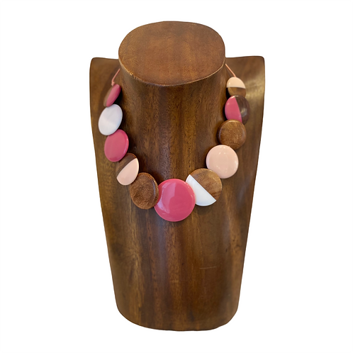 Mixed Wood And Resin Disk Necklace