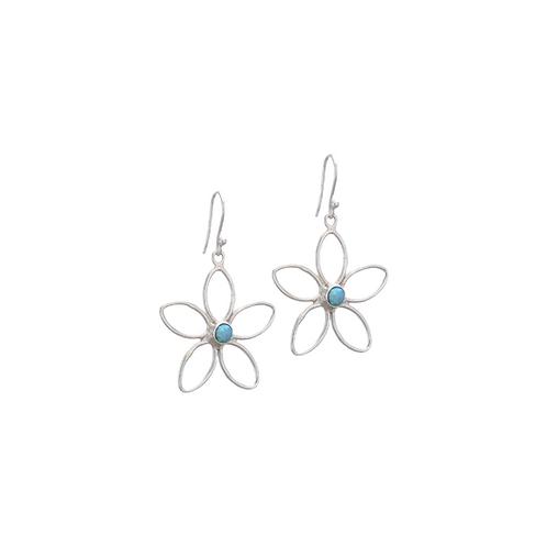 Wire Flower Opal Earrings