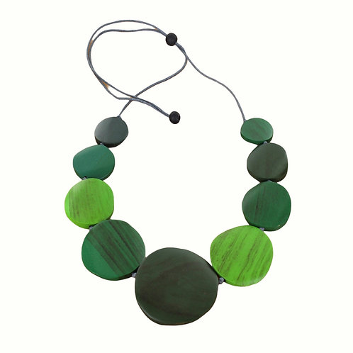 Mixed Green Wooden Disk Necklace