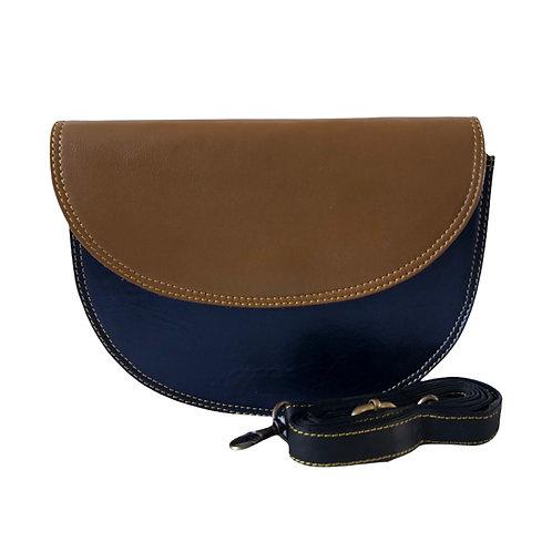 Metallic gold and blue boat shape bag
