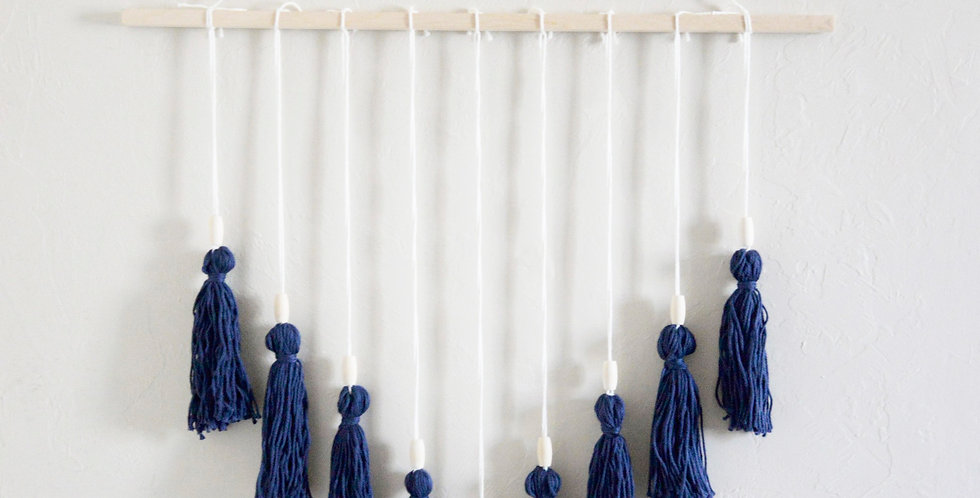 Navy Tassel Wall Hang