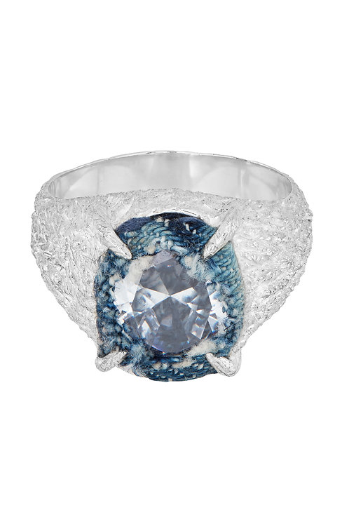 SILVER DENIM OVAL PLANET SIGNET RING - BLUE DENIM/CLEAR STONE