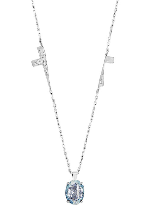 SILVER DENIM OVAL SPLIT CRUCIFIX NECKLACE