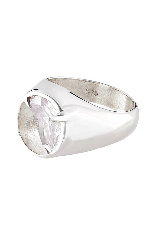 SILVER HALF STONE OVAL SIGNET RING