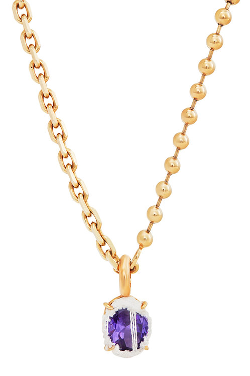 GOLD HEAVY MIXED CHAIN OVAL NECKLACE