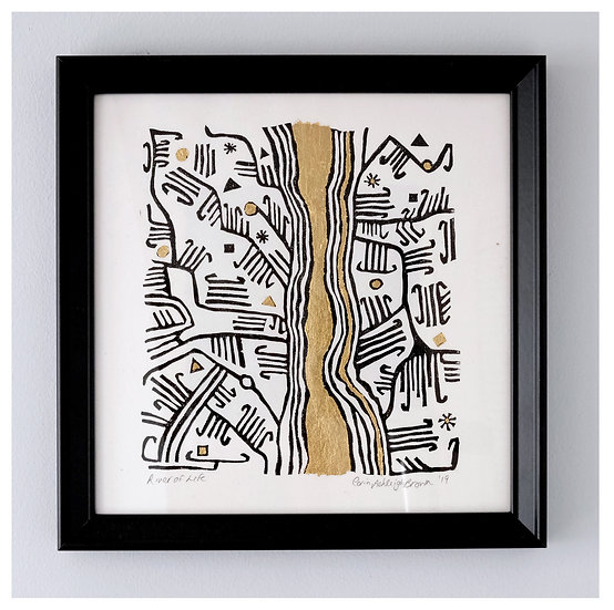 River of Life II (Mbuti Bark Cloth series)