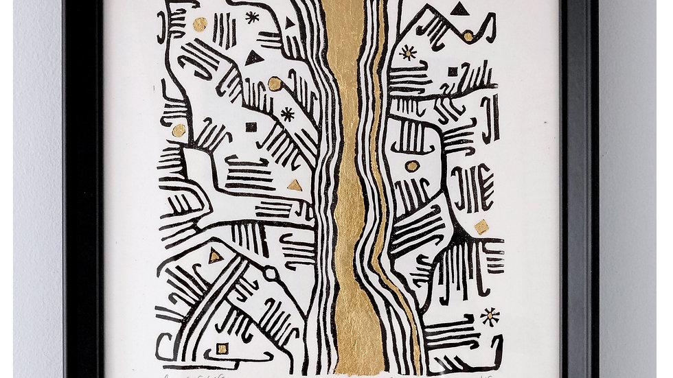 River of Life II (Mbuti Bark Cloth series)