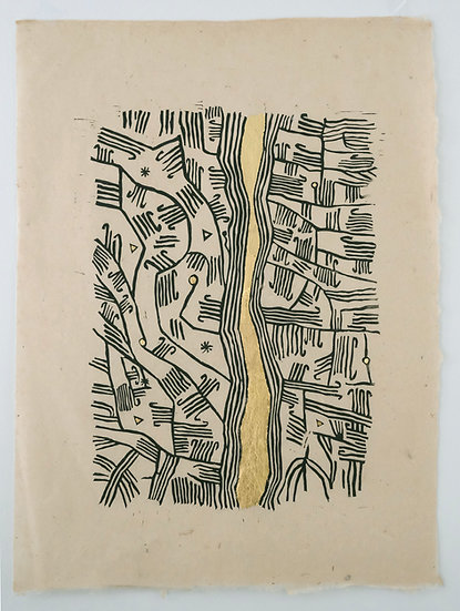River of Life I from the Mbuti Bark Cloth series