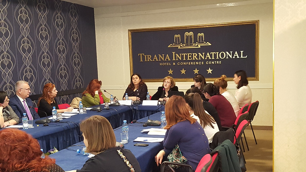 Photo of Albanian participants reporting on gender-based violence and sexual violence.