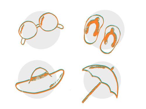 Hand drawn beach icons