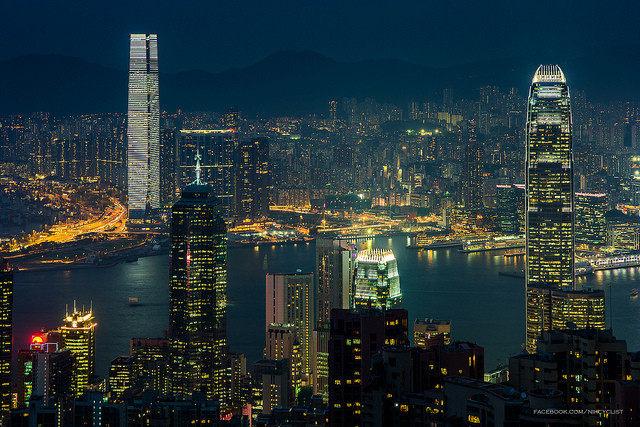 HK Nightshot of ICC and IFC