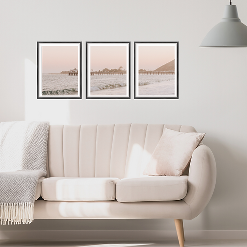 California Beach Print in Living Room -