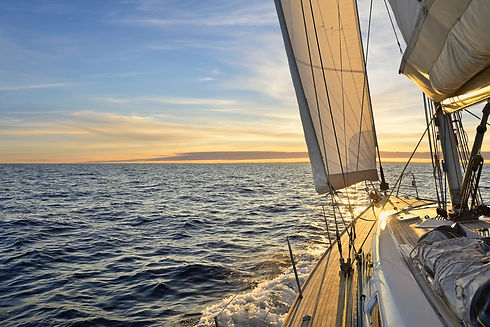 Sailboat sailing in the Mediterranean Se