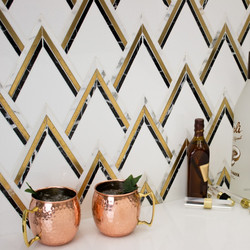 VZAG Nero and Brass Mosaic Tile