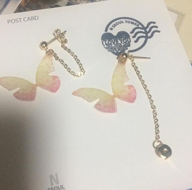 仙氣十足~蝴蝶耳環耳夾!