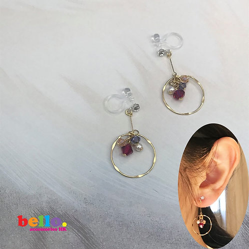[耳夾] 紫紅珠的圈圈寶藏 EC2202 -- [香港耳夾] [日本耳夾][耳夾網店][無痛耳夾]