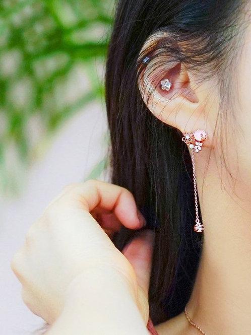 [玫瑰晶][耳針] 珍珠花與晶石RQ003