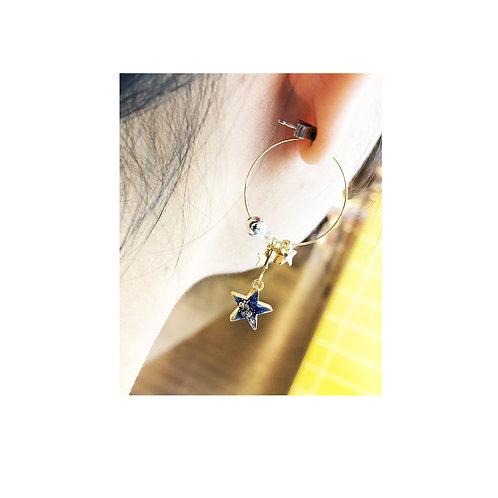 [耳針]金色閃粉星星圈 ER1531-- [香港耳環] [日本耳環][耳環網店]