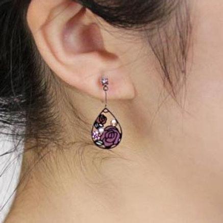 [耳夾] 紫玫瑰寶石水滴 EC2233-- [香港耳夾] [日本耳夾][膠耳夾][耳夾網店][無痛耳夾]