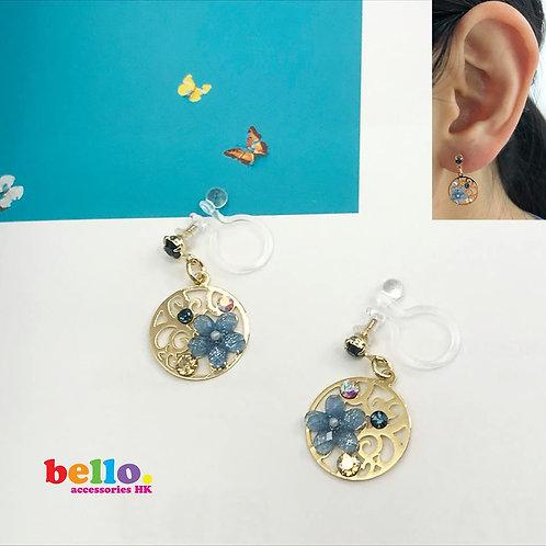 [耳夾] 圓片鑲小花 EC2205 -- [香港耳夾] [日本耳夾][耳夾網店][無痛耳夾]