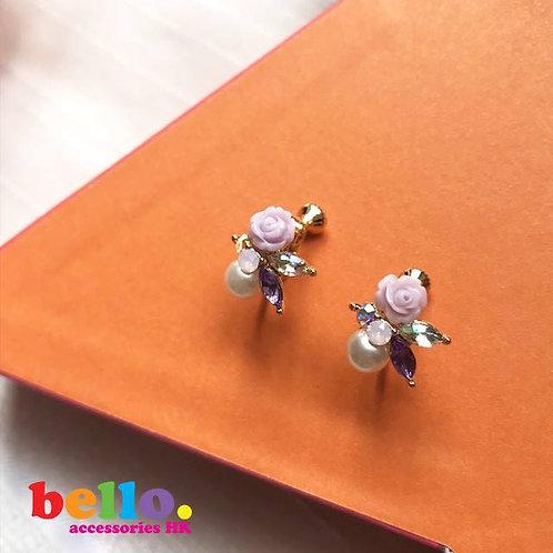 [耳夾] 紫玫瑰花團錦簇 EC2207