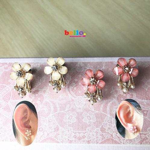 [耳夾] 單朵折射花配閃石珍珠 EC2214 -- [香港耳夾] [日本耳夾][耳夾網店][無痛耳夾]