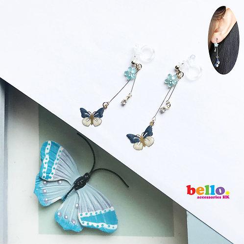 [耳針]雙藍蝴蝶花 EC2196 -- [香港耳環] [日本耳環][首飾網店]