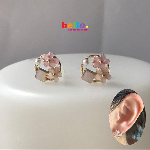 [耳針] 圈中花與方 ER1503 -- [香港耳環] [日本耳環][首飾網店]