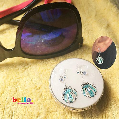 [耳針&耳夾]藍色貝殼寶石 BS004