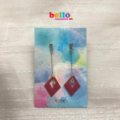 [耳針]華麗紅菱形 ER1530-- [香港耳環] [日本耳環][耳環網店]