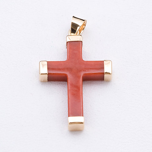14KT Yellow Gold and Carnelian Cross GD-0294
