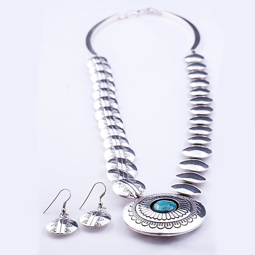 Sterling Turquoise Disc Necklace/Earrings set