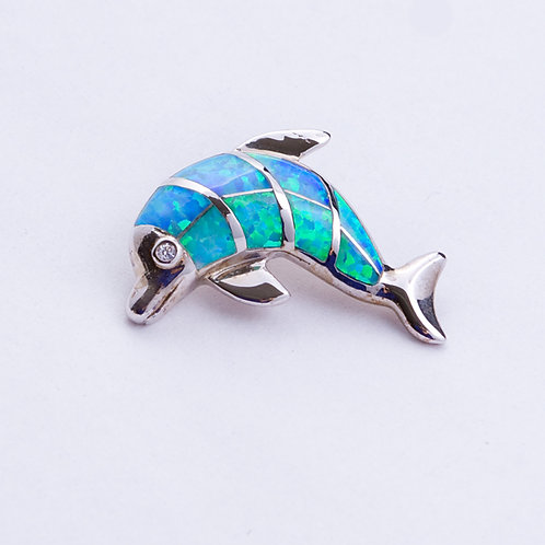 Sterling Lab Opal Dolphin Pendant