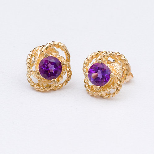 14KT Yellow Gold Amethyst EarringsGD-0255