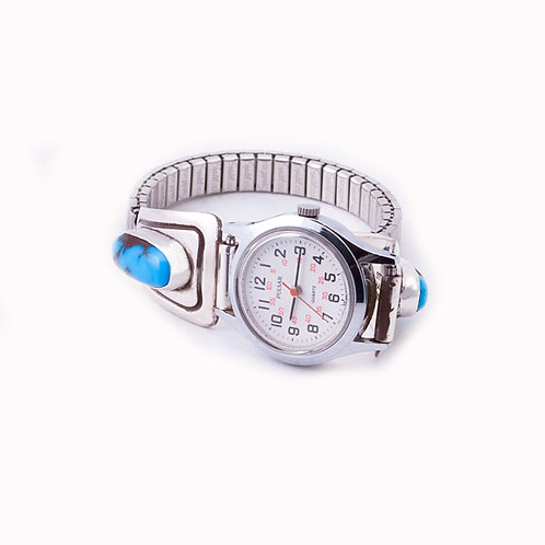 Sterling Watchband with clock CC-0057