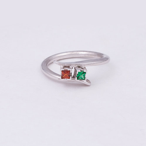 14k White Gold Emerald and Ruby Ring