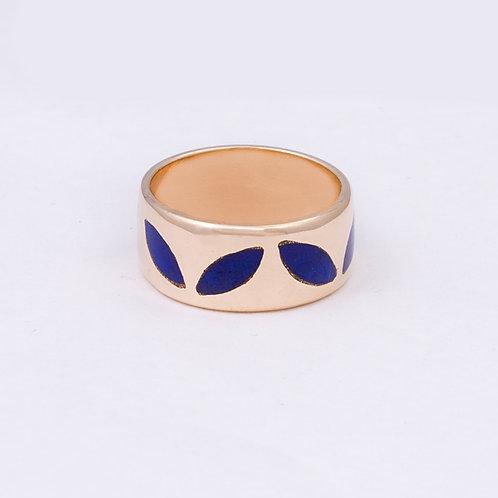 CD 14k Gold Lapis Inlay Petal Ring GD-0073