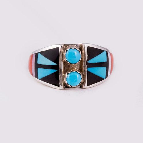 Sterling Zuni Multi inlay Ring RG-0376