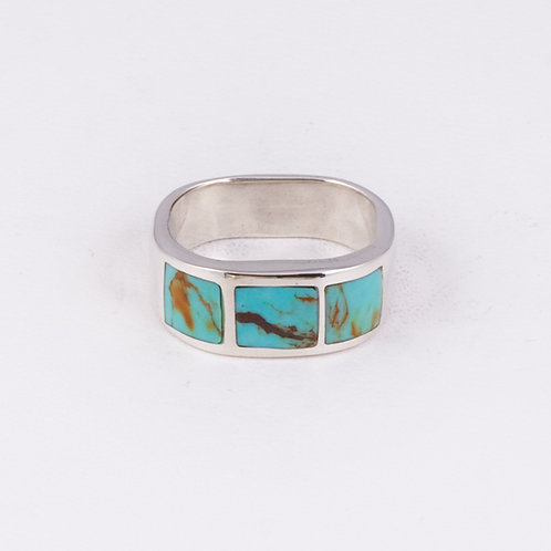 Sterling Carlos Diaz Inlay Turquoise Ring RG-0192