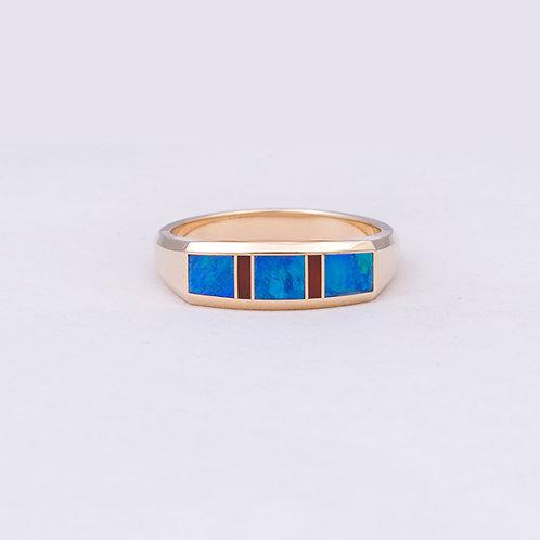 14k Gene Alu Opal/Coral Ring GD-0083