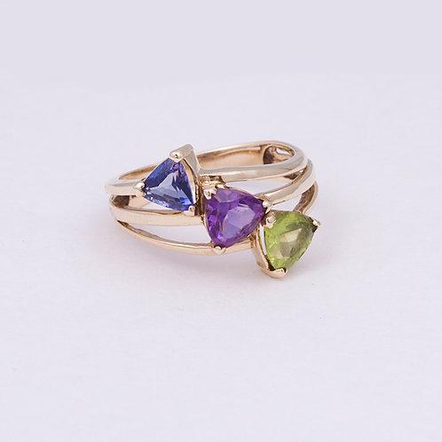 10k Tanzanite/Amethyst/Peridot Ring GD-0133